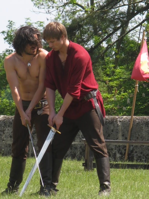 Eoin Macken and Bradley James training on the set of Merlin