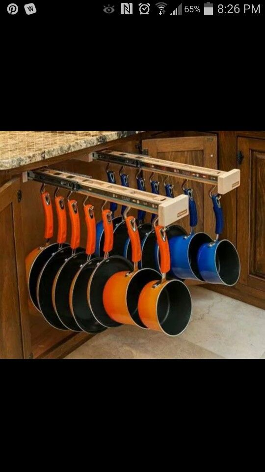Kitchen cabinet pots and pans storage (Sorry no link)