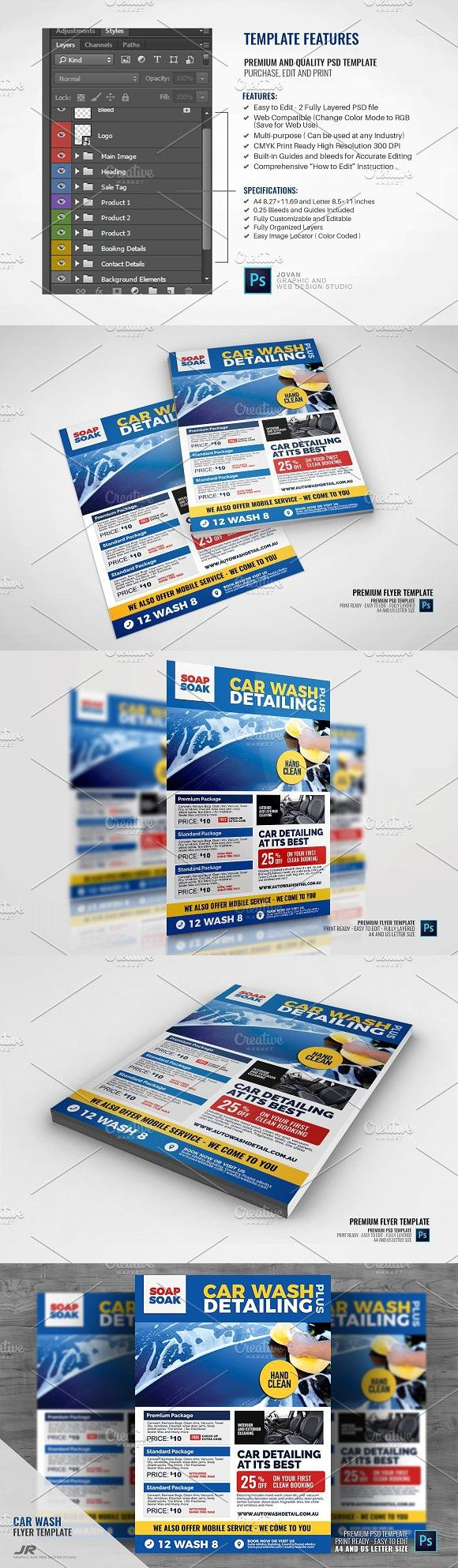 Car Wash Auto Cleaning Service Flyer