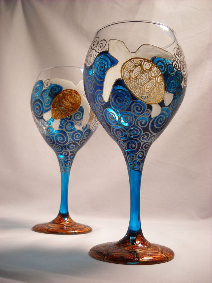 Sea turtle wine glasses hand painted glassware goblets Images of painted wine glasses