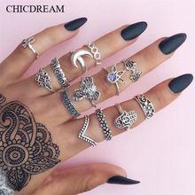 13 Pçs/set Gravura Do Vintage Totem Prata/Cor do Ouro Anéis Midi Definidos Para As Mulheres Boho Boêmio Anéis Partido Jóias Acessórios(China)