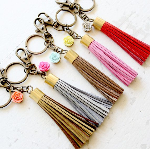 Leather Tassel and Rose Key Chain by NestPrettyThingsShop on Etsy, $22.00