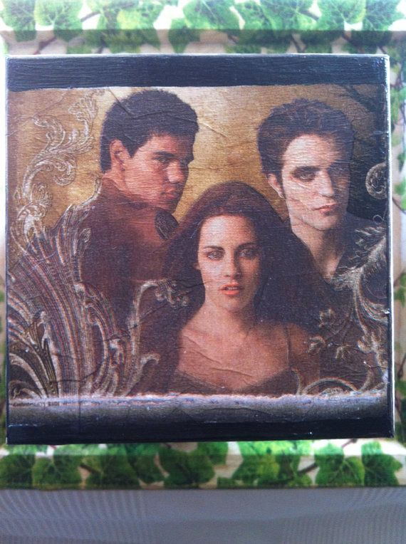 Twilight Decoupaged BoxEdwardBellaJacob Robert by litsakiv on Etsy, $30.00