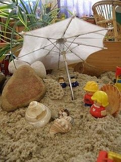 This sand area was designed to look like the beach--natural materials were added to expand the play experience.