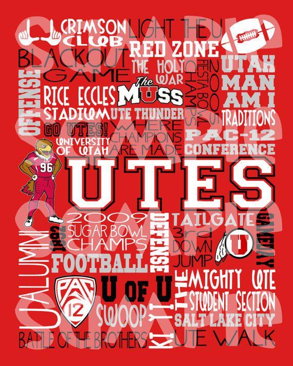 University of Utah Utes Subway Art/ Utes Football by LilWordShop, $10.00