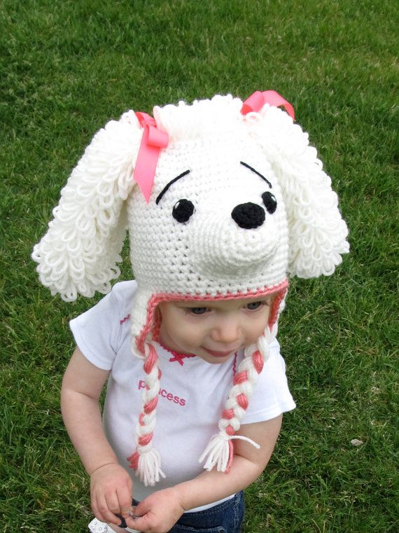 Crochet Poodle Hat with Earflaps