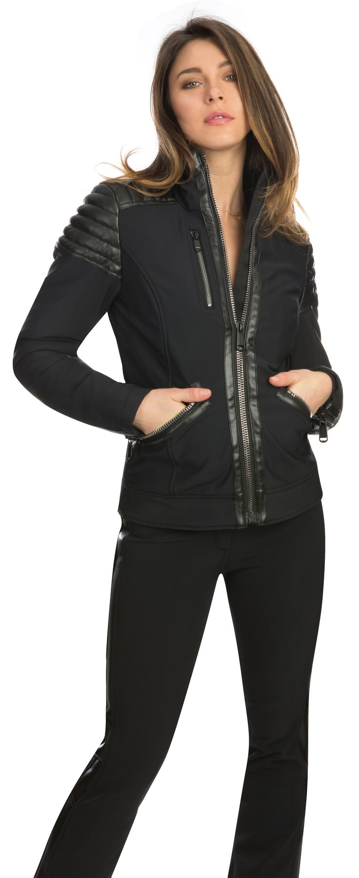 Leonie by Goldbergh, a stretch ski jacket in biker chic with faux leather details. Available from Winternational.