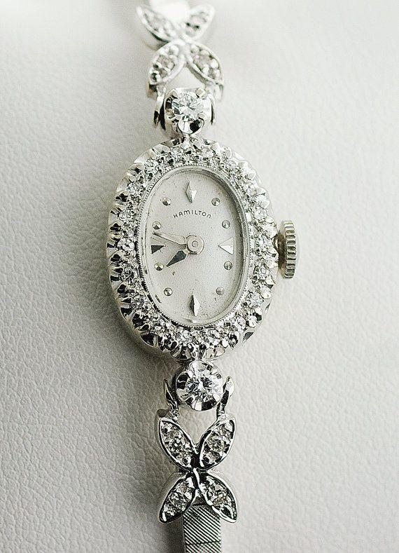 Vintage ladies Hamilton diamond watch. Very feminine and pretty.