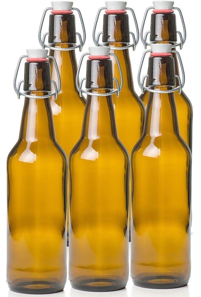 Estilo Swing Top Easy Cap Glass Beer Bottles Amber 16 Oz Set Of 6