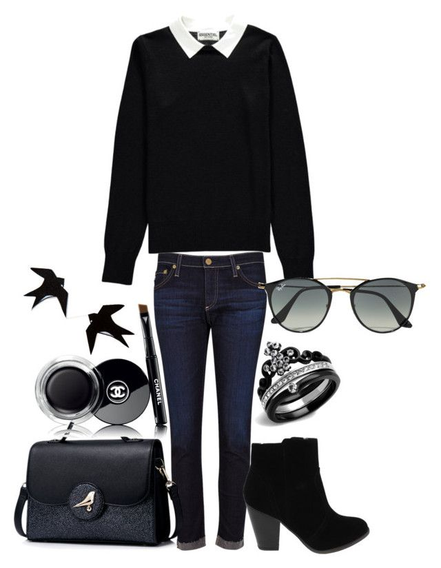 """""""Tenue n°12"""" by vava-creatrice on Polyvore featuring AG Adriano Goldschmied, Essentiel, Ray-Ban and Chanel"""