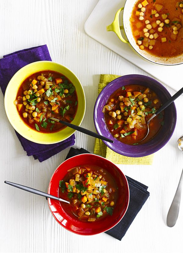 Fiery chickpea and harissa soup