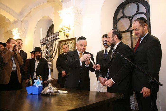 Lech Kaczyński w synagodze, 21.12.2008