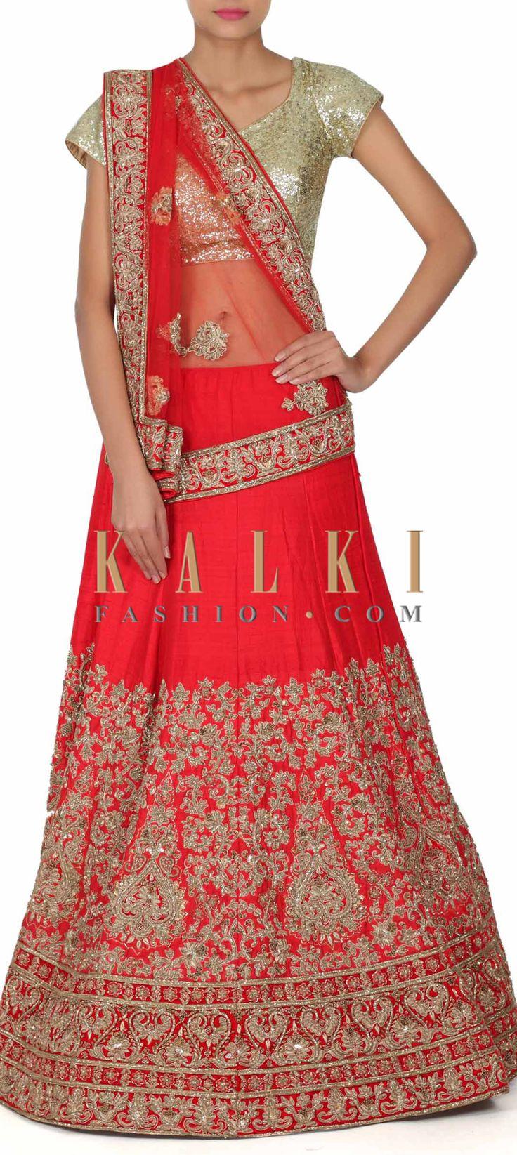 Buy this Red lehenga adorn in zardosi embroidery only on Kalki