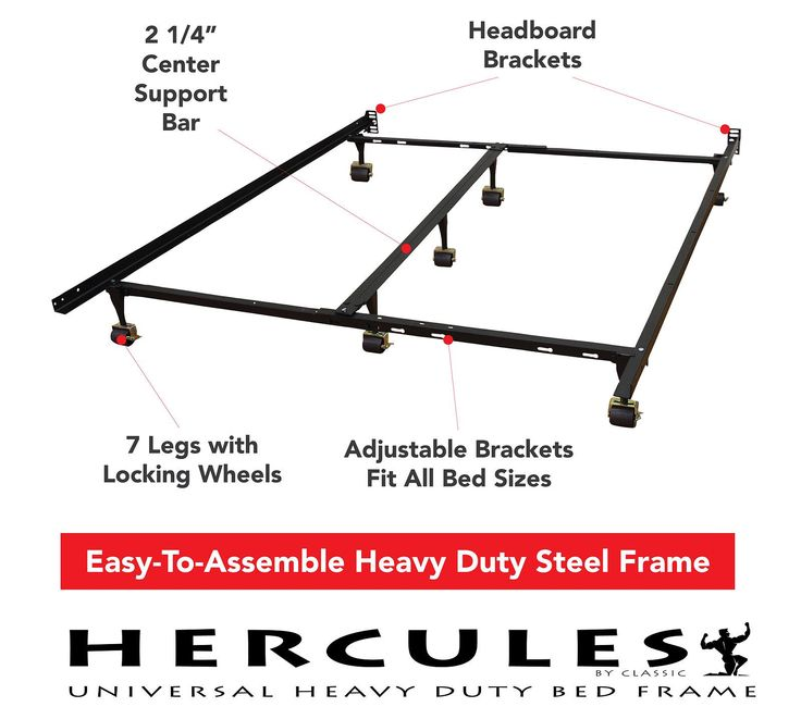 this steel bed frame is engineered to support heavier mattress sets and has a center support