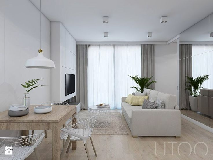 WSZĘDZIE BLISKO - Średni salon z jadalnią, styl nowoczesny - zdjęcie od UTOO- pracownia architektury wnętrz i krajobrazu