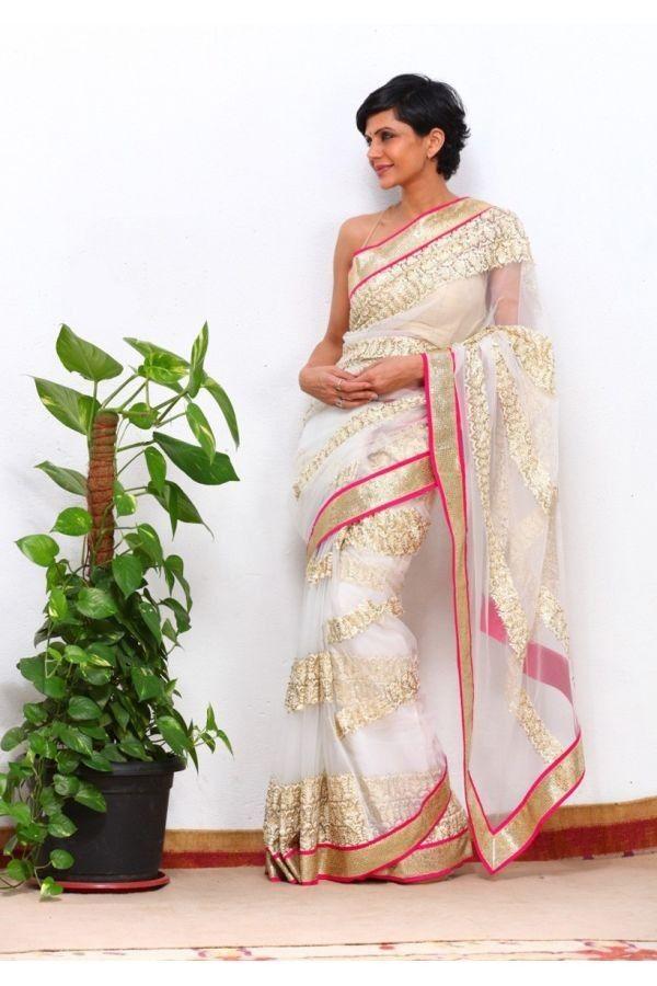 #MandiraBedi Net White And Pink Saree #bollywoodfashion #netsaree