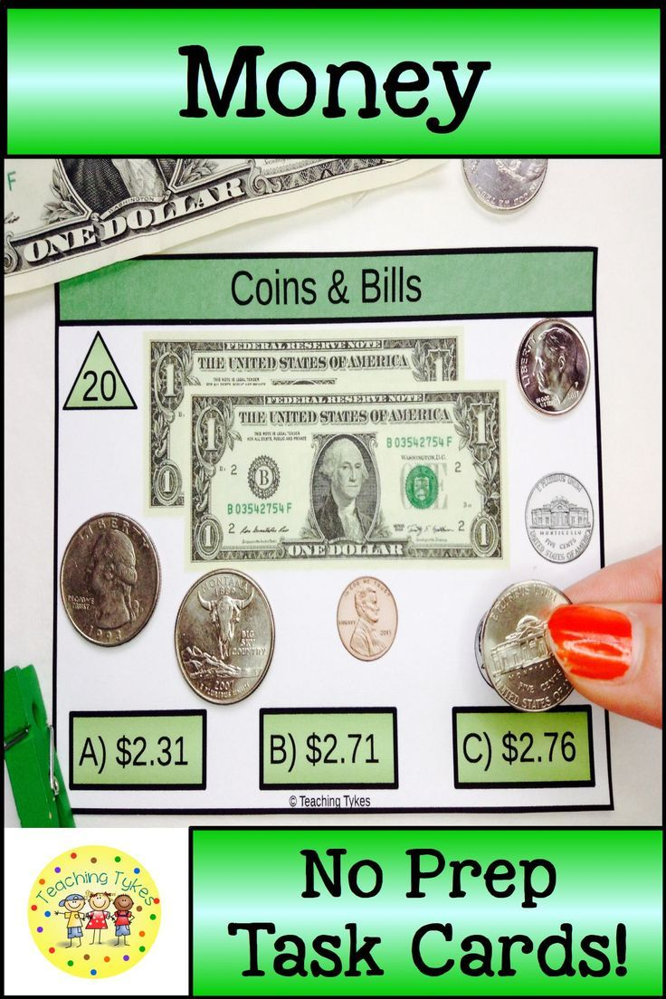 56 U.S. Currency Money Task Cards with dollar bills and coins #money  #moneyactivities #countingmoney #cou…   Money task cards [ 1104 x 736 Pixel ]