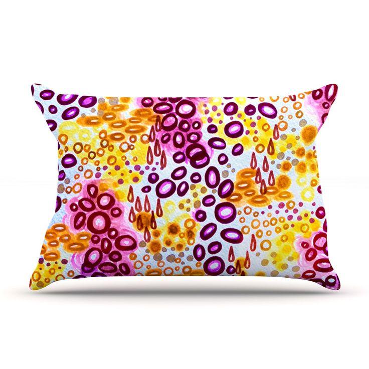 "Ebi Emporium ""Circular Persuasion Purple"" Yellow Pink Pillow Case"
