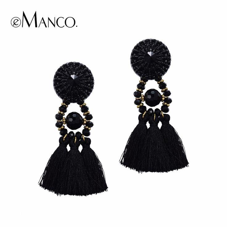 10pcs Wholesale eManco Black tassel statement earrings for women earrings fashion big dangle earring crystal jewelry accessories