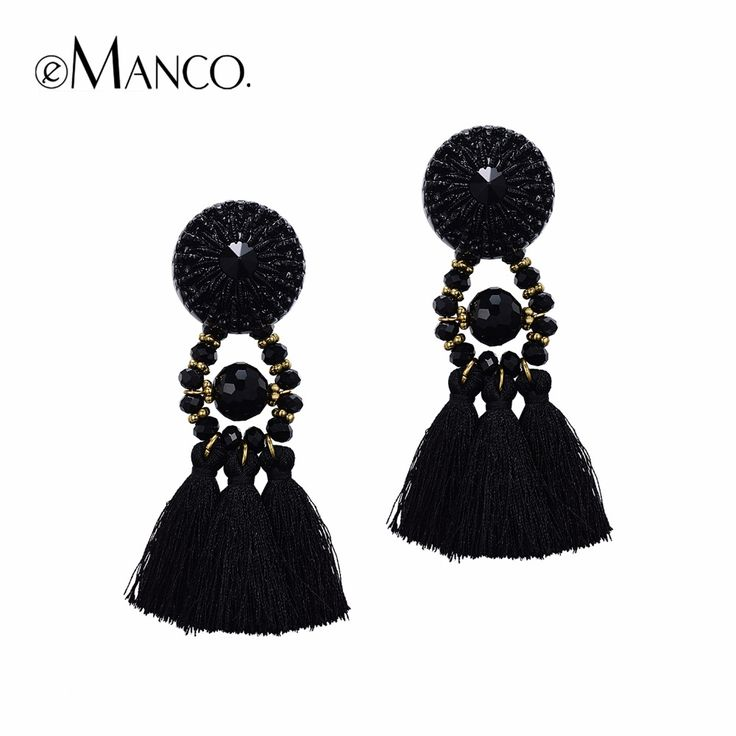 Hot Now Ethnic Bohemia Tassel Statement Dangle Drop Earrings for Women Black Resin Button Crystal Beads Jewelry WOW #Jewelry #shop #beauty #Woman's fashion #Products