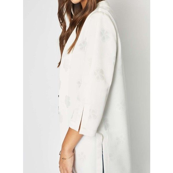Miss Selfridge Cutwork Satin Duster Coat ($95) ❤ liked on Polyvore featuring outerwear, coats, ivory, white winter coat, miss selfridge coat, duster coat, satin duster coat and ivory coat