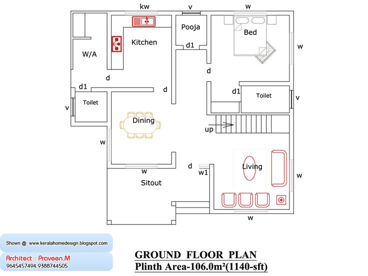 Floor house plan 1000 sq ft kerala home design and for Www kerala home plans