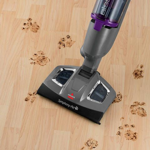 The Symphony Pet All-in-One Vacuum and Steam Mop from BISSELL makes it effortless to clean up after your pet. You can use the vacuum or steam separately or at the same time, with 3 different cleaning options, to get clean, sanitized hard floors.