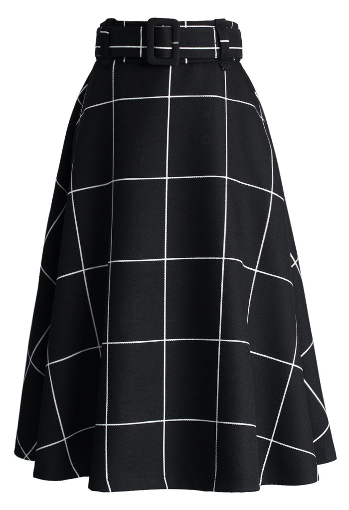 Sway the Plaids Belted Midi Skirt in Black - New Arrivals - Retro, Indie and Unique Fashion