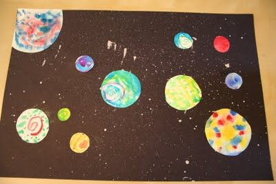 Outer space painting craft for Carolyn's group.  We'll have pre cut circles in different sizes they can color with markers.  Have glow in the dark paint for the stars.