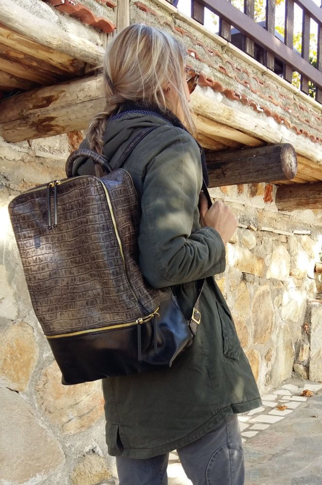 Gator leather backpack, Embossed Leather Rucksack, weekend backpack, elegant backpack for men and women by UJaneBags on Etsy