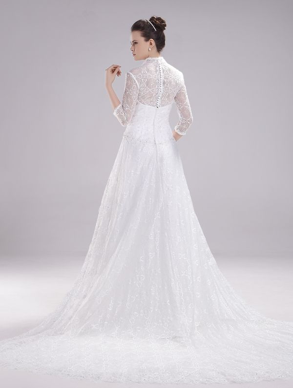 Gorgeous A-Line High Neck Lace Long Sleeves Chapel Train #Wedding Dress WAL07254-QS