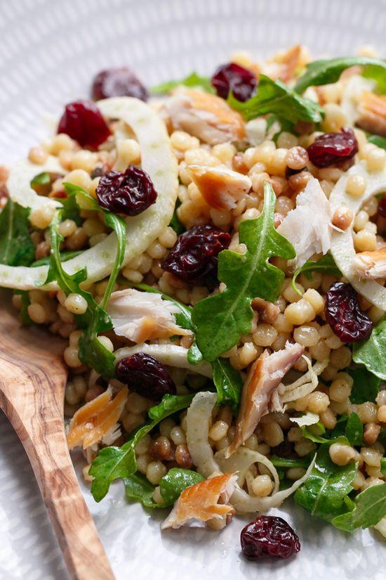 Cold Fregula Sarda Salad with Tart Cherries and Smoked Trout
