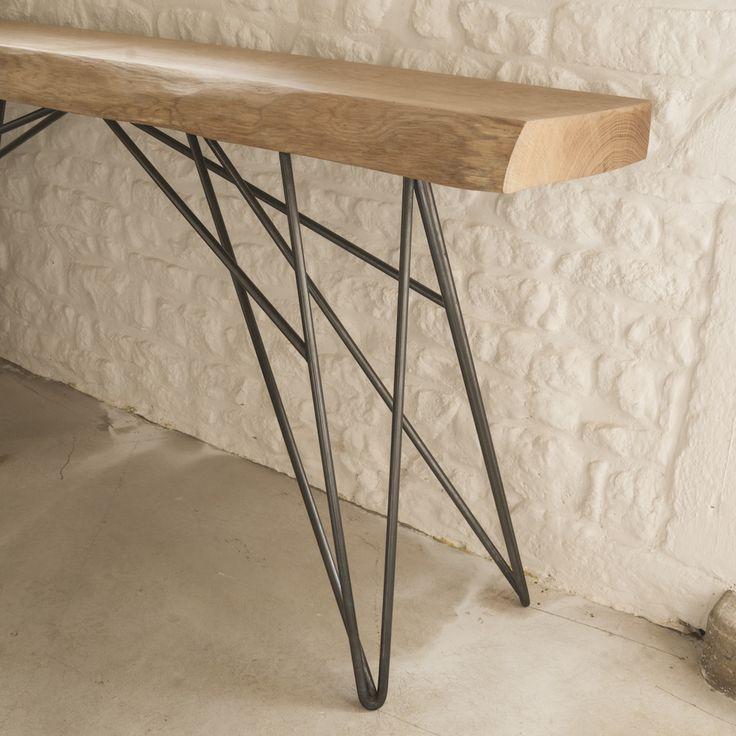 ya atelier console carlot plateau en ch ne massif de 80mm pied en acier cir noir table. Black Bedroom Furniture Sets. Home Design Ideas