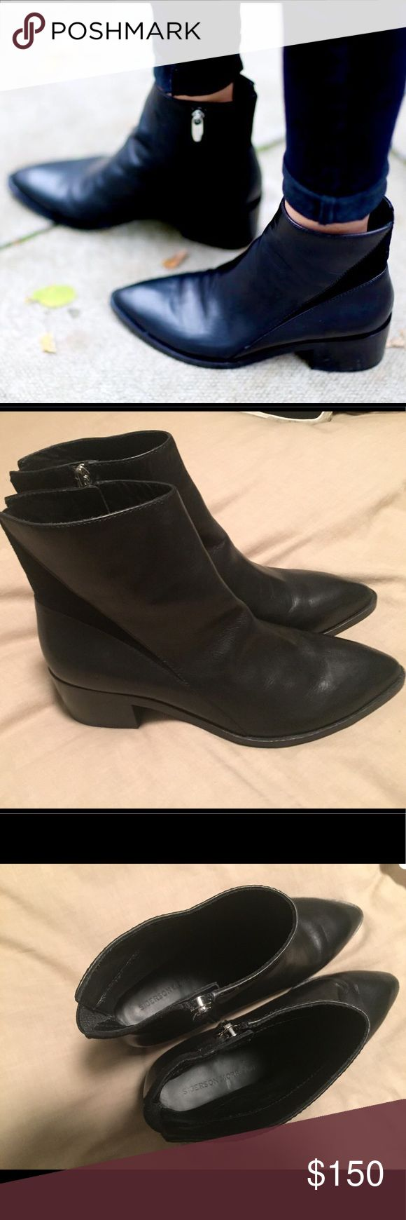 "Barely worn Sigerson Morrison Scarlett booties! These  black Sigerson Morrison Scarlett ankle boots have only been worn a handful of times (as you can see by the soles). Gorgeous leather with cool geometric suede insert. 2"" stacked heel for stability and tapered almond toe. Sold out everywhere! Sigerson Morrison Shoes Ankle Boots & Booties"