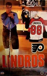 "Eric Lindros ""Locker Room"" Philadelphia Flyers Rookie Year Poster - Starline 1992"
