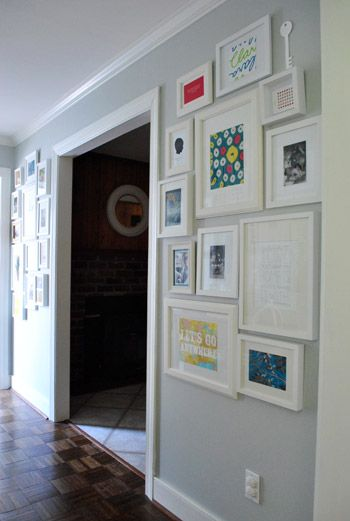 Gallery walls   Young House Love: Wall Of Frames, Decor Ideas, Black Frames, Galleries Wall, Buy Frames, Photo Wall, Hallways Frames, Frames Galleries, Frames Wall Collage