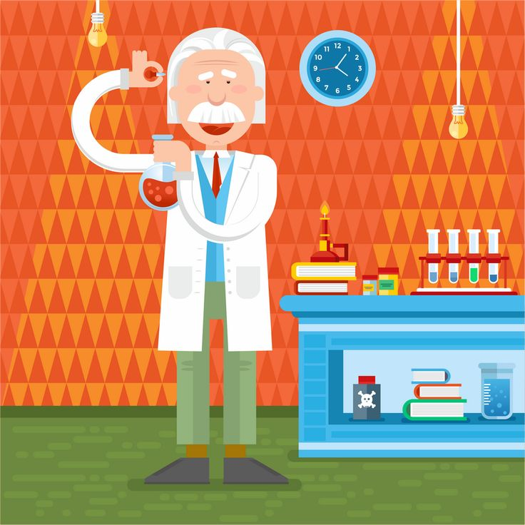 Albert Einstein in lab. illustration by Kristina Slava
