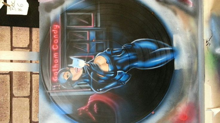 CatWoman Airbrushed Vinyl Record