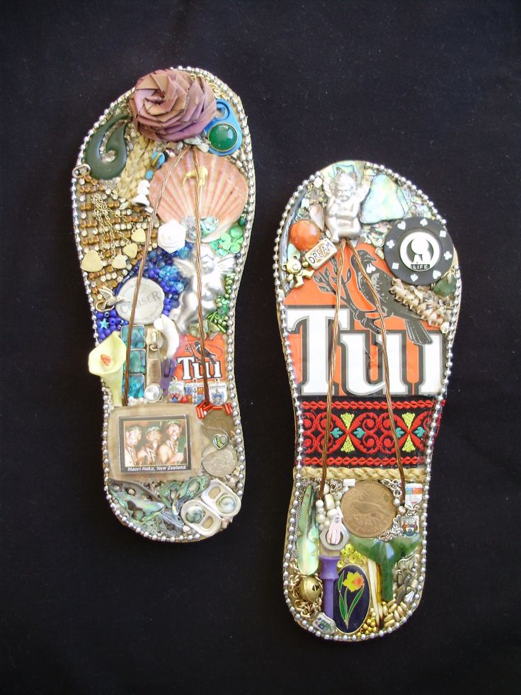 Kiwiana Jandals - decorative jandals using New Zealand bitsnpieces, eg tui can, paua shell, bread bag tags, beads, putiputi flower, etc