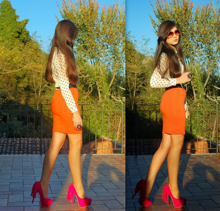 """♥ this look on whatiwear.com by VERONICA_MICIA """"POLKA DOTS SHIRT, ORANGE AND FUCHSIA - LOOK 1"""" http://www.whatiwear.com/look/detail/141557"""