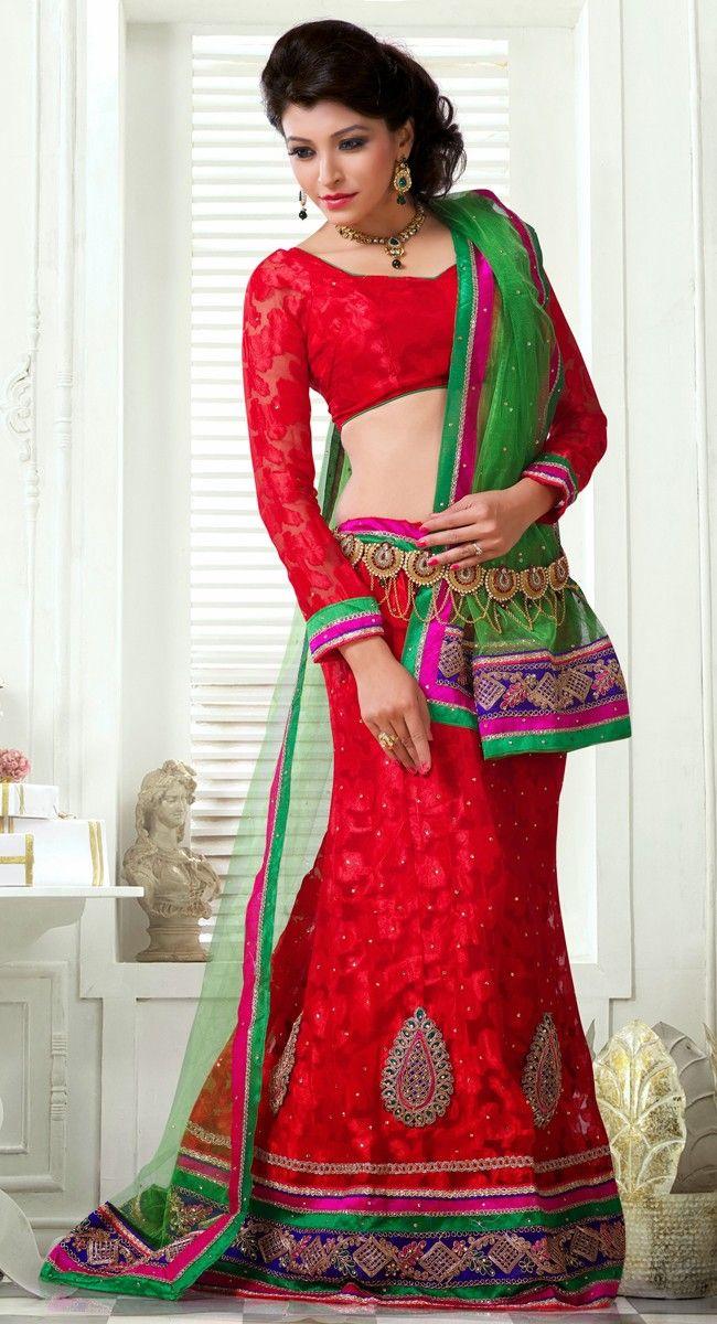 Fancy Red Lehenga Choli