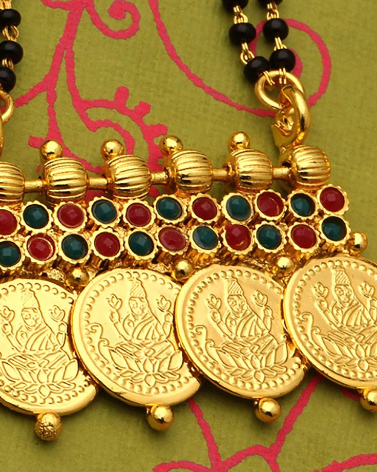 Temple Theme Collection Double Chain Mangalsutra Set Red Green