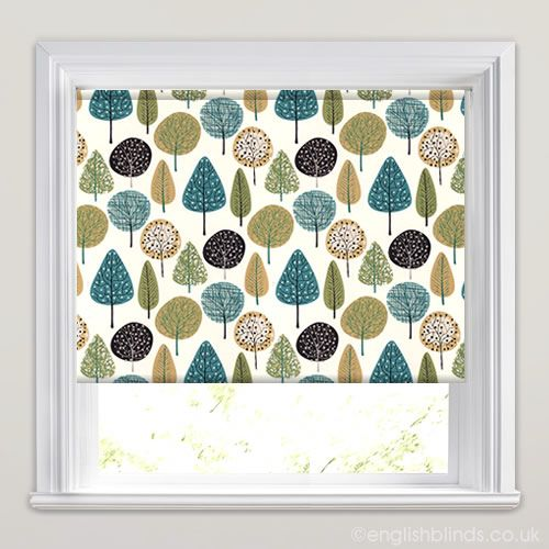 Contemporary White, Green, Grey & Blue Trees Patterned Roller Blinds