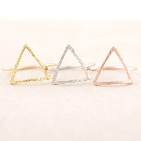 Minimalistic Open Triangle Ring 18k Gold Silver by MinimalMeow