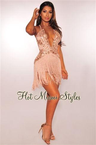 a342666ea9 Rose Gold Sequins Nude Fringe Dress