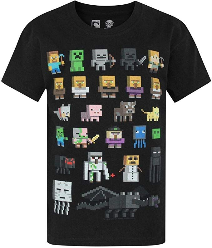 Minecraft Sprites Character Boys Children/'s Kid/'s White T-Shirt Top