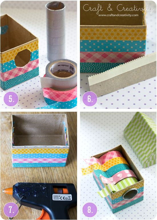 Washi tape dispenser from cardboard house and tube from aluminum foil box- by Craft & Creativity