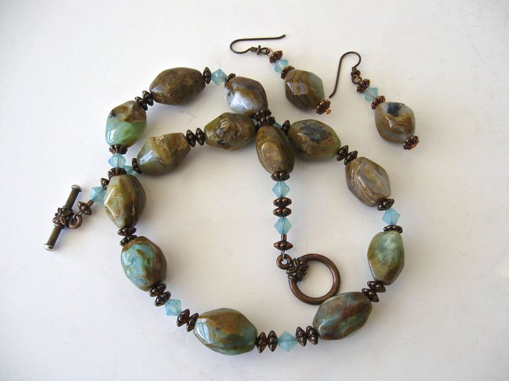 Vintage Raw Brazilian Opal Gemstone Necklace and Earrings Set / Natural Beautiful Opal Bead Jewelry by Picabosplace on Etsy