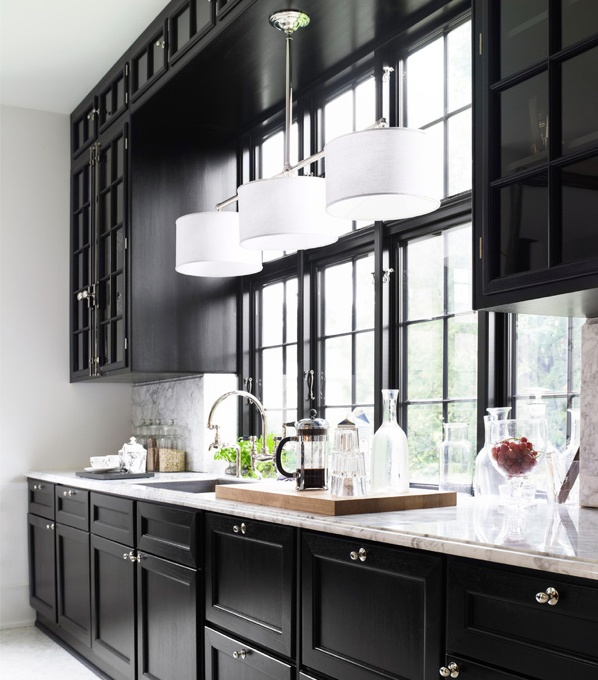 great #kitchen #windows - normally like #white #cabinets, but this looks good #black