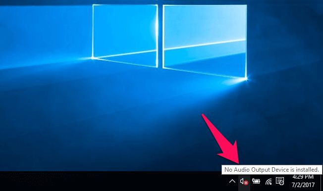 """No sound on Windows 10 due to """"No Audio Output Device is installed"""" error message?"""
